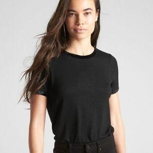 Gap Softspun Velvet-Trim Crewneck T-Shirt